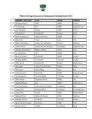 Plantel de Argentina para el Campeonato Sudamericano 2013