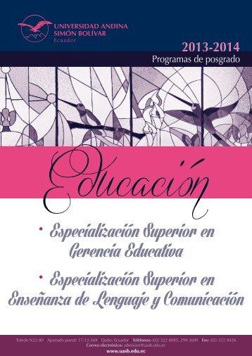 • Especialización Superior en Gerencia Educativa • Especialización ...