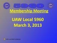 Membership Meeting UAW Local 5960 March 3, 2013