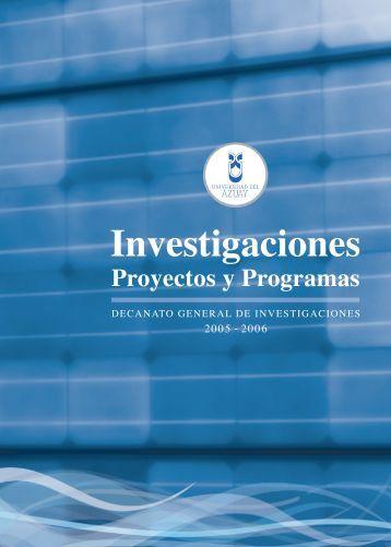 Investigaciones, Proyectos y Programas (informe) - Universidad del ...
