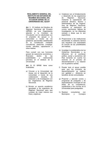 REGLAMENTO GENERAL DEL INSTITUTO DE ESTUDIOS DE ...