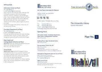 07 Flyer No. 1 - Freie Universität Berlin