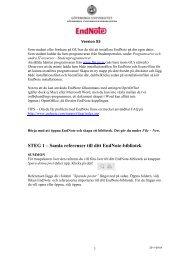 STEG 1 – Samla referenser till ditt EndNote-bibliotek