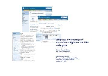 Utvärderingsrapport av UB:s webbplats - Göteborgs ...