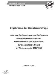 Ergebnisse der Befragung - Universitätsbibliothek Dortmund