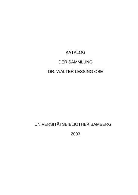 Katalog Der Sammlung Dr Walter Lessing Obe Opus4