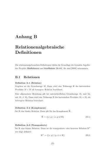 Anhang B Relationenalgebraische Definitionen