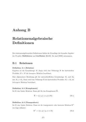 Anhang B Relationenalgebraische Definitionen