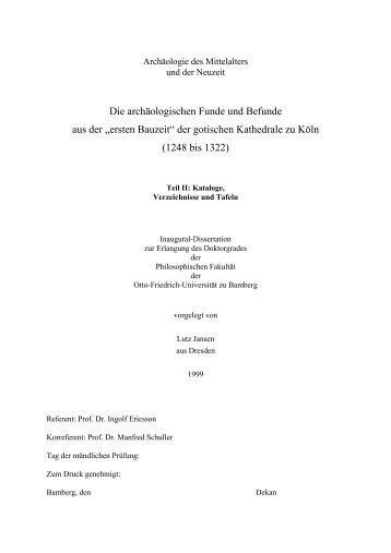 Die archäologischen Funde und Befunde aus der - Universität ...