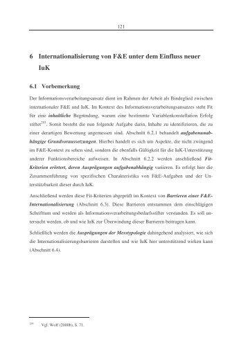 6 Internationalisierung von F&E unter dem Einfluss neuer IuK