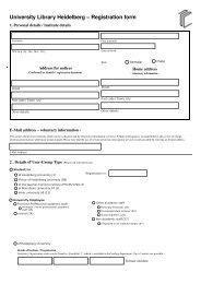 University Library Heidelberg – Registration form