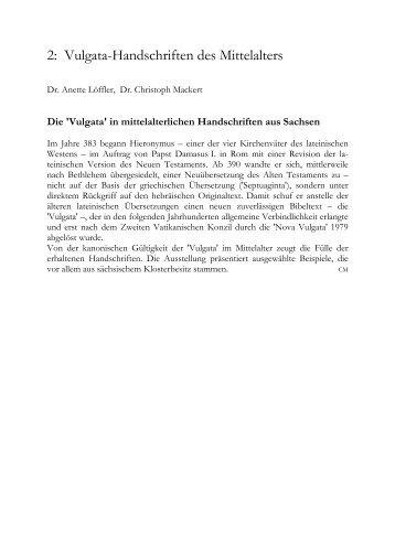 2. Vulgata-Handschriften des Mittelalters - Universitätsbibliothek ...