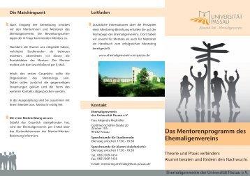 Das Mentorenprogramm des Ehemaligenvereins - Universität Passau