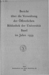 1959 - Universitätsbibliothek Basel - Universität Basel