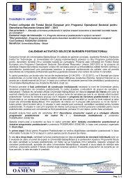 Programul Operaţional Sectorial pentru Dezvoltarea Resurselor ...
