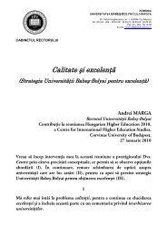 Calitate şi excelenţă - Universitatea Babes - Bolyai, Cluj - Napoca