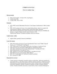 CURRICULUM VITAE Prof. dr. Ladislau Nagy Date personale • Data ...