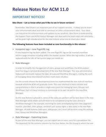 Release Notes for ACM 11.0