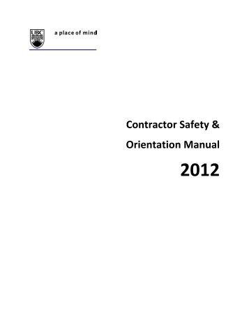 UBC Okanagan Contractors' Safety and Orientation Manual