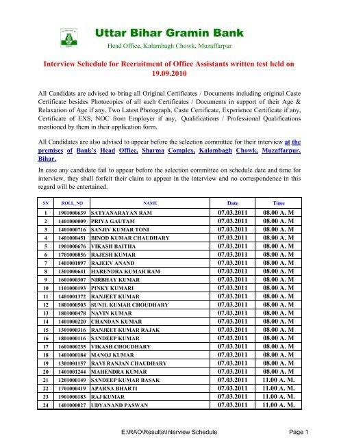 Interview Schedule - Uttar Bihar Gramin Bank