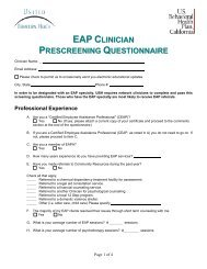 EAP Clinician Prescreening Questionnaire - Ubhonline.com