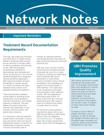 Treatment Record Documentation Requirements ... - Ubhonline.com