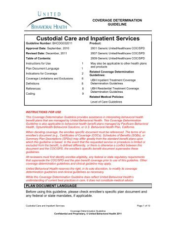 Custodial Care and Inpatient Services - Ubhonline.com