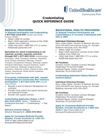 TennCare Credentialing Quick Reference Guide - Ubhonline.com