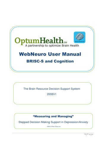 WebNeuro User Manual - Ubhonline.com