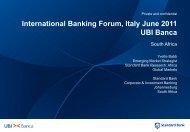 Workshop SOUTH AFRICA - UBI Banca