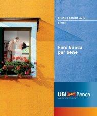 Bilancio Sociale 2012 Sintesi Fare banca per bene - UBI Banca