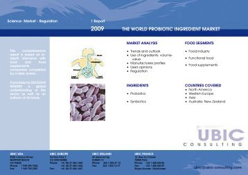 THE WORLD PROBIOTIC INGREDIENT MARKET - UBIC-Consulting