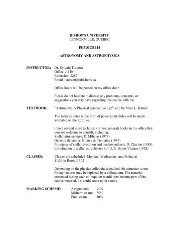 PHY 114 Astronomy & Astrophysics - Bishop's University