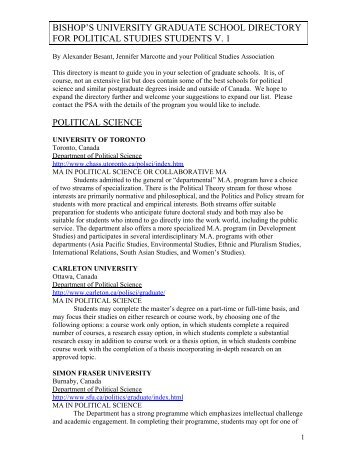 Directory for Political Studies Students V.1 - Bishop's University