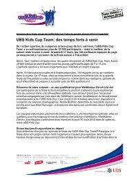 UBS Kids Cup Team: des temps forts à venir