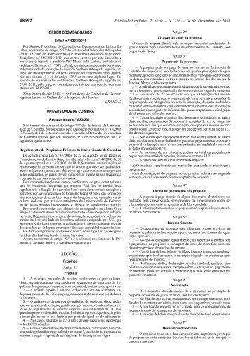 Regulamento de Propinas e Prémios da Universidade de