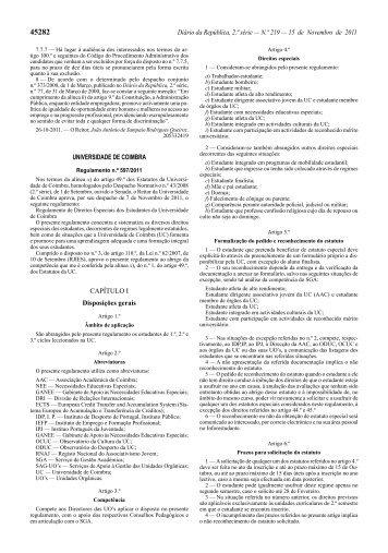 Regulamento - Direitos Especiais dos Estudantes da UC