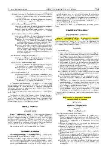 Regulamento - Propriedade Intelectual da UC - Universidade de ...