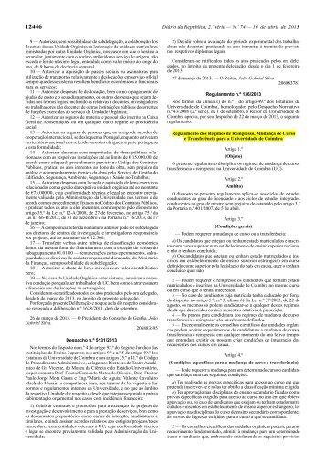 Regulamento - Regimes de Reingresso, Mudança de Curso e ...