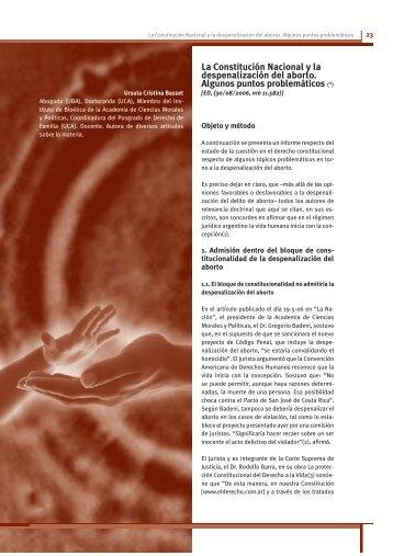 La Constitución Nacional y la despenalización del aborto. Algunos ...