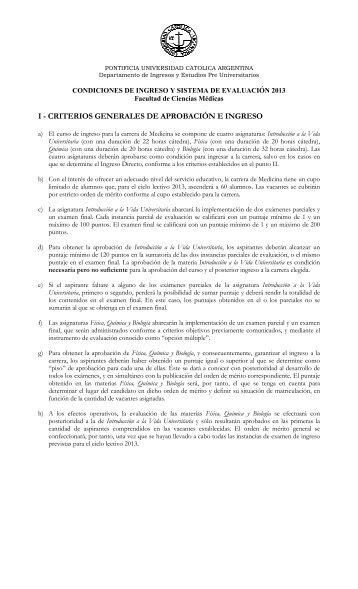 Reglamento Medicina Ingreso 2013 - Universidad Católica Argentina
