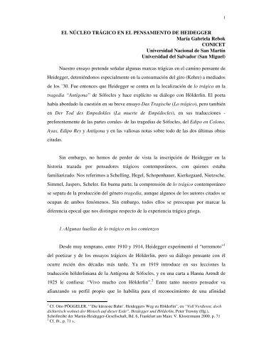 EL NÚCLEO TRÁGICO EN EL PENSAMIENTO DE HEIDEGGER ...