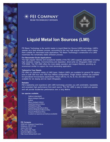 Liquid Metal Ion Sources - FEI Company