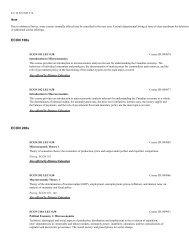 Courses Economics - Undergraduate Calendar