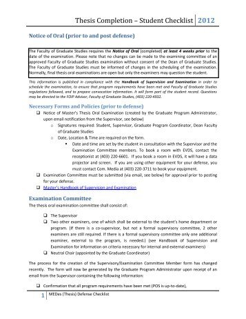 Thesis Completion – Student Checklist - University of Calgary