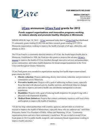UCare announces UCare Fund grants for 2012