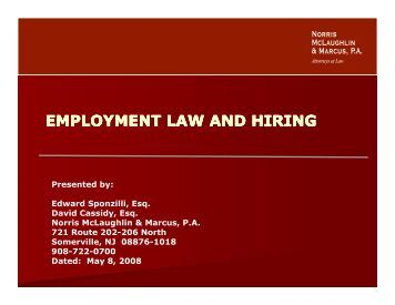 EMPLOYMENT LAW AND HIRING - Union County College