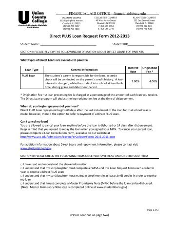 Direct PLUS Loan Request Form 2012 2013