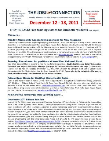 THE JOB CONNECTION December 12 - 18, 2011 - Union County ...