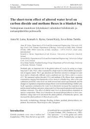 The short-term effect of altered water level on carbon dioxide and ...